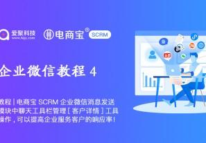 教程|电商宝SCRM企业微信消息发送模块中聊天工具栏管理[客户详情]工具操作,可以提高企业服务客户的响应率!