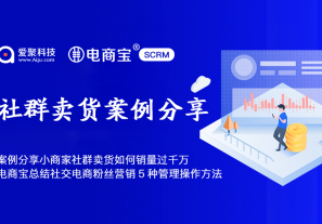 案例 | 小商家社群卖货过千万,电商宝SCRM总结了社交电商粉丝营销的5种管理操作方法!!